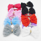 "5"" Lace  Rosette Style Gator Clip Bows w/ Crystal Stones .50 each"