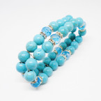2 Line Stone Turq. Bead & Crystal Stretch Bracelets .54 each