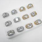 Elegant Gold & Silver Raised Cubic Stone Rings .54 each