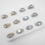 Elegant Gold & Silver Cubic Stone Rings w/ Mini Crystals .54 each