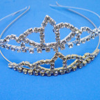 Gold/Silver Rhinestone Tiara Headbands Clear Stones (333) .65 each