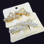 "2 Pack Gold & SIlver 1.5"" Rhinestone Crown Barrettes .54 per set"