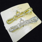 "3"" Gold & Silver Crown Style Rhinestone Hair Gator Clips  .54 each"