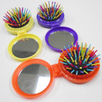 Round Pocket Size Flip Hair Brush w/ Mirror  .50 each