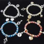 Love Theme Crystal Beaded Charm Bracelets asst brights .54 each