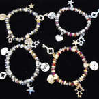 Love Theme Crystal Beaded Charm Bracelets Dark Colors  .54 each