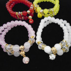 2 Strand Glass Bead Stretch Bracelets w/ Cry. Stone Fire Ball Bead .54 each