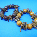 Chunky Rd. Wood Bead & Coco Wood Chips Fashion Bracelets .54 each
