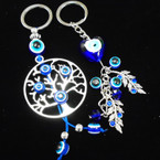 Tree of Life & Leaf Keychains w/ Blue Eye Charms .54 each