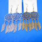 "2.5"" Gold & Silver Dream Catcher Theme Earrings .54 each"