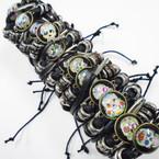 Multi Strand Leather Bracelets w/ Sugar Skull Charm    .54 each
