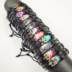 All Black Teen Leather Bracelets w/ Colorful OWL Charm  .54 each