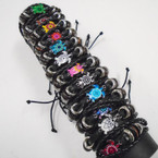 Multi Strand Leather Bracelets w/ Colorful Turtle Charm    .54 each