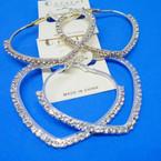 """2.5"""" Gold & Silver Heart Shaped Rhinestone Earrings .54 each"""