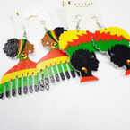 "2.5"" Wood Rasta Color Fashion Earrings 2 Styles .50 each"
