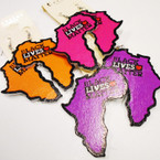 "3"" Wood Black Lives Matter Map of Africa Earrings   .50 each"