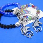 Asst Color Crystal Bead Bracelets w/ Silver Unicorn Charm .54 each