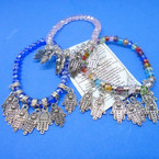 Crystal Beaded Bracelet w/ Silver Hamsa Charms .54 each