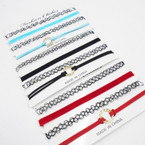 SPECIAL 4 Pack Fashion Choker Sets Asst Colors w. Gold Ring .58 per set