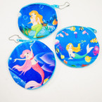 "4"" Mermaid Under the Sea Round Coin Purse w/ Zipper  .54 each"