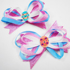 Multi Ribbon Easter Egg  Gator Clip Bows w/ Pink Sparkles  .54 each