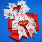 "5"" Layer Red & White Glitter Heart Theme Gator Clip Bows .56 each"