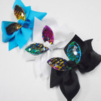 "3.5"" Sequin Changing Color Bunny Ear Gator Clip Bows 24 pk .27 each"