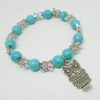 Turquoise Bead & Silver Owl Fashion Stretch Bracelets .54 each