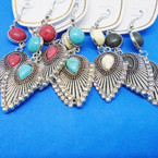4 Color Bead Southwest Look Earrings w/ Clear Crystals .56 each