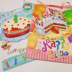 "10"" X 13"" Glitter Pop Out Happy Birthday Gift Bags 4 styles .56 each"