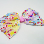 "6"" Multi Ribbon Unicorn Print Gator Clip Bows .54 each"