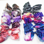 "6"" Soft Satin Fabric Galaxy Print Gator Clip Bows .54 each"