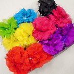 "4"" DBL Silk Flower Jaw Clip Bows Asst Colors .54 each"