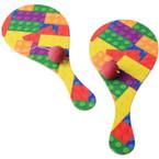 """9"""" Block Mania Theme Paddle Balls 12 per pk  .41 ea"""