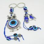 Cast Silver Owl Theme Keychains w/ Blue Eye Beads 2 styles .54 ea