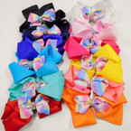 "5"" 2 Layer Gator Clip Bows w/ Crystal Stones & Rainbow Ribbon .54 each"