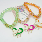 Brilliant Crystal Beaded Stretch Bracelet w/ Unicorn Charm .54 each