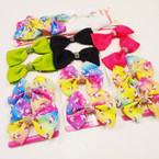 "4 Pack 3"" Unicorn Print & Solid Gator Clip Bows w/ Stones  .54 per set of 4"