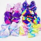 "5"" 6- Color Tye Dye Gator Clip Bows w/ Crystal Stones .54 each"