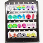 Colorful Tree of Life Earring w/ Cry. Stone 12 pair per display .50 each