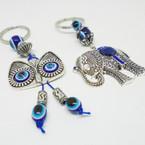 Cast Silver Owl & Elephant Theme Keychains w/ Blue Eye Beads .54 ea
