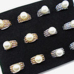 Raised Pearl & Crystal Stone Cocktail Rings .54 each
