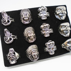 Cast Silver Men's Rings 4 styles per tray .54 each