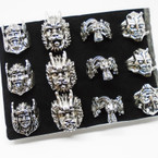 Cast Silver Men's Rings 4 styles per tray (#52)  .54 each