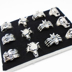 Cast Silver Men's Rings 4 styles per tray (#51)  .54 each