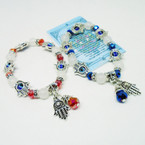 Red & Blue Crystal Bead Bracelet w/ Hamsa Charm .54 each