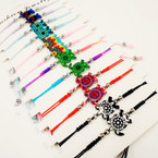 Colorful Handmade Turtle Adj. Cord Bracelets 12 per pk .54 each