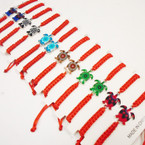 Colorful Handmade Turtle Bracelet on Red Macrame  12 per pk .54 each