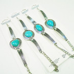 4 Style Cast Silver Fashion Bracelet w/ Turquoise Stone .56 each