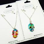 Silver Chain Neck Set w/ Colorful Sugar Skull Pendant .54 ea set